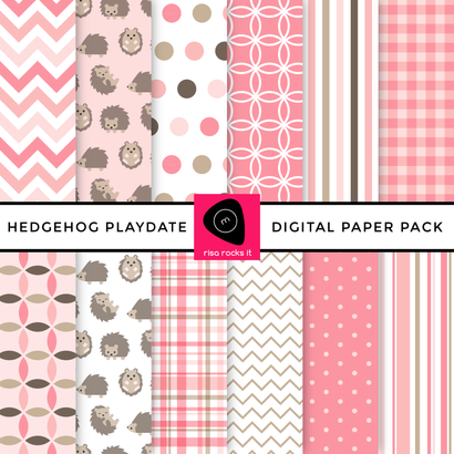 Hedgehog Play Date Digital Paper Pack Digital Pattern Risa Rocks It