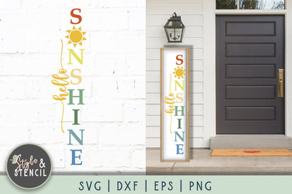 Hello Sunshine SVG | Porch Sign | Summer SVG Style and Stencil