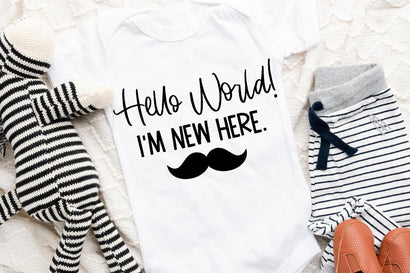 Hello World I'm New Here - Mustache (Boy) SVG SVG So Fontsy Design Shop