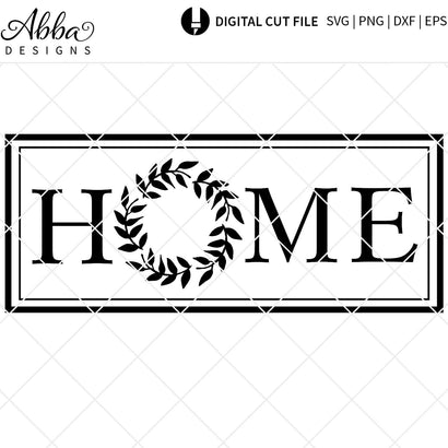 Home Wreath Sign SVG Abba Designs