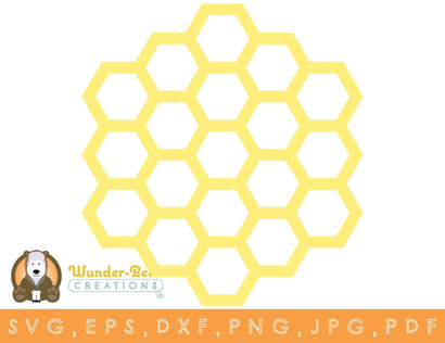 Honeycomb v1 SVG, DXF, PNG, JPG, EPS, PDF SVG Wunder-Bear Creations