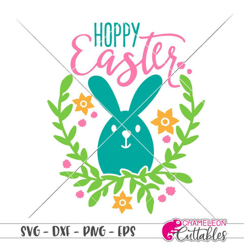 Hoppy Easter - floral wreath Bunny - SVG SVG Chameleon Cuttables