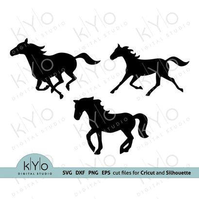 Horse Silhouettes SVG cut files SVG kYo Digital Studio