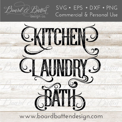 Household Words Bundle - Kitchen, Laundry, Bath SVG File SVG Board & Batten Design Co