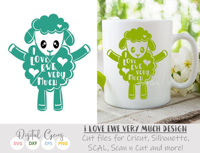 I love ewe, Lamb SVG / DXF / EPS / PNG files SVG Digital Gems