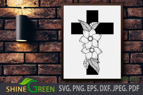 Jesus Floral SVG Monogram with Hand Drawn Flowers, Fall Christmas SVG Shine Green Art
