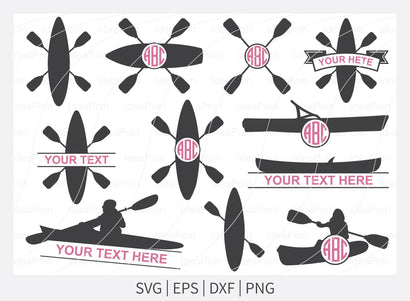 Kayak Monogram SVG, Kayak Svg, Canoe Split Monogram, Canoe SVG, Kayak logo Svg, Canoe Silhouette, Sport Outdoor SVG, Sport Outdoor Svg, Svg SVG Dinvect