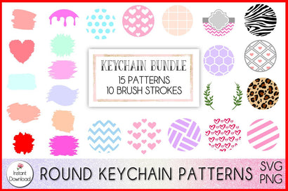 Keychain Bundle SVG, Keychain Patterns Bundle, Keychain Brush Strokes SVG LaurelMagnoliaDesign
