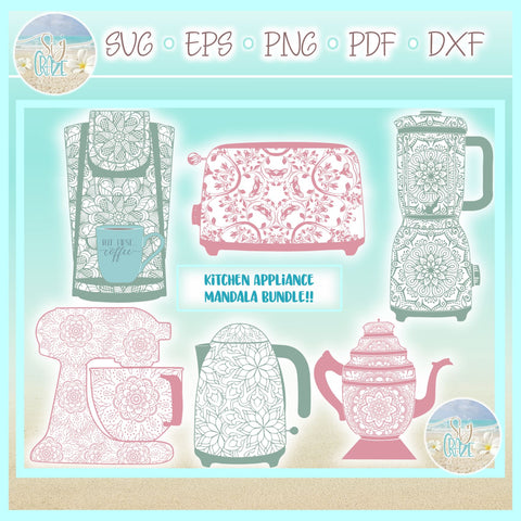 Kitchen Appliance Mandala Zentangle Bundle SVG SVG SVGcraze