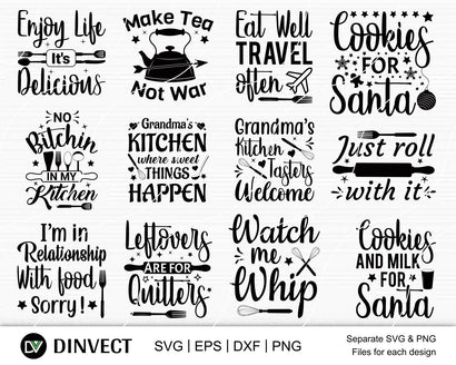 Kitchen bundle SVG, Kitchen SVG, Kitchen Quote SVG, Cooking svg, Kitchen Svg Cut File, Funny kitchen svg, Kitchen cut file, Baking SVG SVG Dinvect
