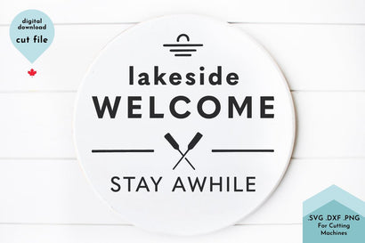 Lakeside Welcome Stay Awhile Cottage SVG Cut File SVG Lettershapes