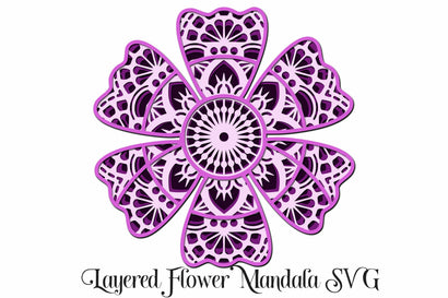 Layered Flower Mandala SVG 4 Layers SVG Digital Honeybee