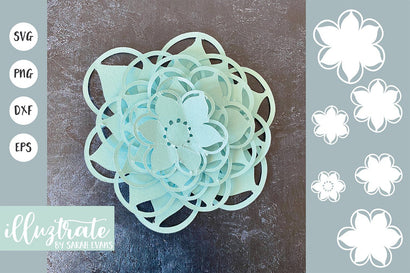 Layered Paper Flower SVG Cut File 3D Paper Illuztrate