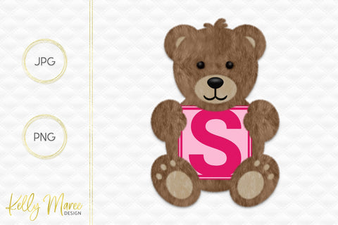 Letter S Bear Graphic Sublimation Kelly Maree Design