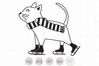 Line Art Skating Cat SVG SVG Lynda M Metcalf