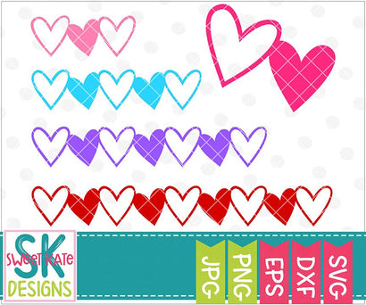 Linked Heart Borders SVG Sweet Kate Designs