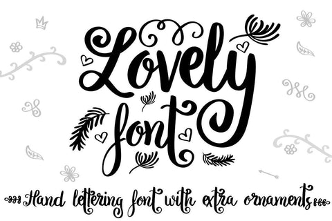 Lovely font with hand drawn ornaments Illustrator Guru