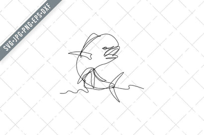 Mahi-mahi or Common Dolphinfish Jumping Up Continuous Line Drawing Black and White SVG Patrimonio Designs Limited
