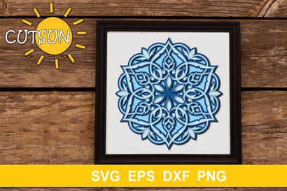 Mandala SVG | Layered Mandala with hearts cut file 5 layers 3D Paper CutsunSVG