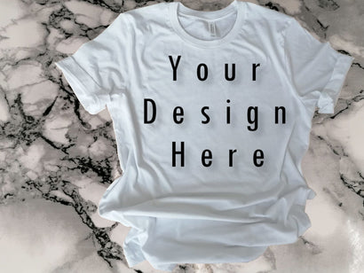Mockups White Bella Canvas Shirt, Marble mosaic background SVG ArtStudio