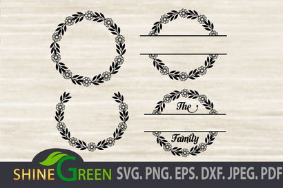 Monogram SVG - Floral Wreath Bundle SVG Shine Green Art
