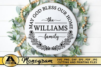 Monogram SVG Home Sign SVG Farmhouse Wreath SVG Cut Files SVG zoellartz
