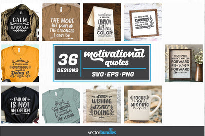 Motivational quotes bundle of 36 designs svg SVG vectorbundles