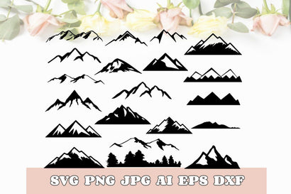 Mountains Bundle Vector Camping Cut File Svg Dxf Png Jpg Eps Ai Pdf SVG TheCrafterDepot