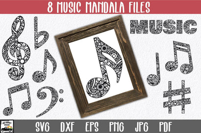 Music Mandala SVG Bundle - 8 Mandala Music Notes SVG Old Market