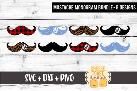 Mustache Monogram Bundle - 8 Designs - Valentine's Day SVG PNG DXF Cutting Files SVG Cheese Toast Digitals