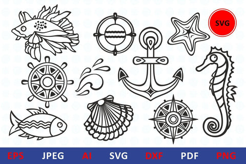 Nautical Sea life svg icon bundle underwater dxf vector illustrations Fish, wheel, anchor, boat, sailboat, starfish, seahorse, lifebuoy and compass. Summer clipart SVG Zoya Miller