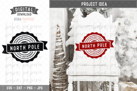 North Pole Express Delivery SVG - Cut Files for Silhouette Cricut, Iron On, Printable SVG Boba Paperie