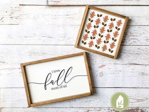 Oak Leaf and Acorn Pattern SVG | Autumn SVG | Farmhouse Sign Design SVG LilleJuniper