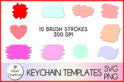 Paint Brush Strokes svg, Keychain PNG, Circle Keyring, keychain template svg mini bundle, diy Keychain, Monogram Keychains SVG LaurelMagnoliaDesign