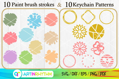 Paint Brush Strokes Svg, Keyring Patterns Svg, Circle Patterns Svg, Keychain Svg, Brush Strokes Svg, Watercolor Svg, Round Patterns Svg SVG Artinrhythm shop
