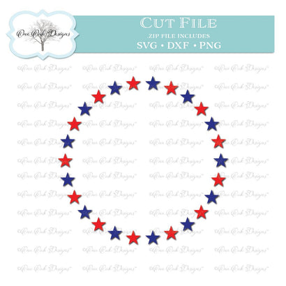 Patriotic Star Circle Monogram Frame SVG One Oak Designs