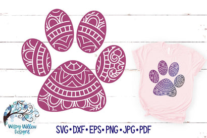 Paw Print Mandala SVG SVG Wispy Willow Designs