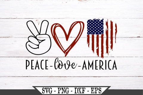 Peace Love America Red White and Blue Distressed American Flag SVG Vector Cut File SVG My Sassy Gifts