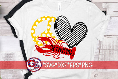 Peace Love crawfish SVG DXF EPS PNG SVG Greedy Stitches