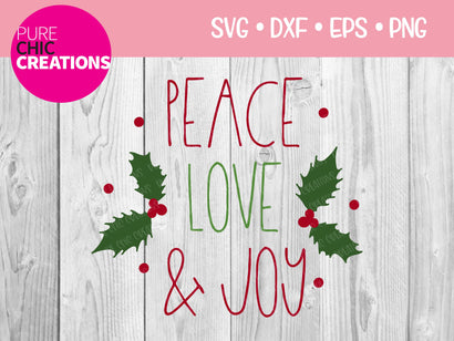 Peace Love & Joy - Cricut - Silhouette - svg - dxf - eps - png - Digital File - SVG Cut File - Christmas SVG - Christmas clipart - clipart SVG Pure Chic Creations