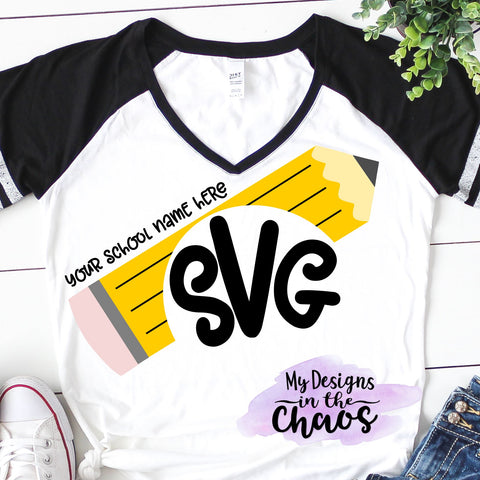 Pencil Monogram SVG Design | Teacher Cutting File | School SVG SVG My Designs in the Chaos