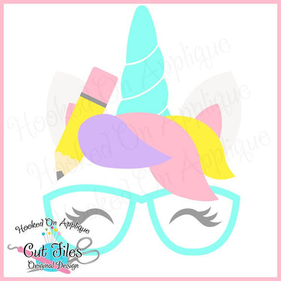 Pencil Unicorn SVG DXF PNG EPS Cut File SVG Hooked On Applique