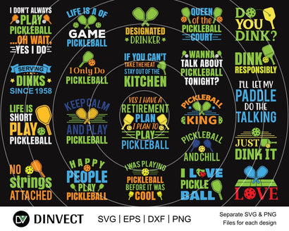 Pickleball SVG, Pickleball Bundle SVG, Pickleball t-shirt design, Pickleball Cricut files, pickleball t-shirt design, Pickleball Cricut Files, SVG, Eps, Dxf, png SVG Dinvect