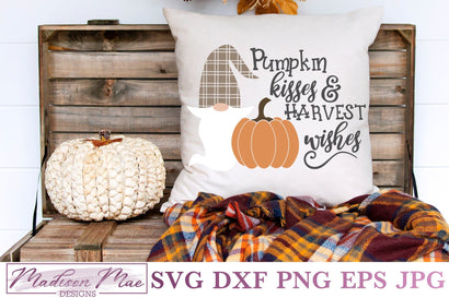 Plaid Fall Gnome SVG, Pumpkin Kisses and Harvest Wishes SVG Madison Mae Designs
