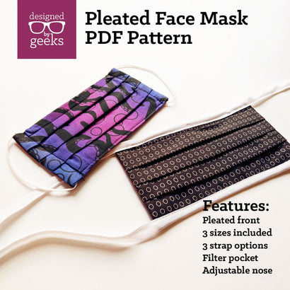 Pleated Face Mask Sewing Pattern PDF Digital Pattern Designed by Geeks