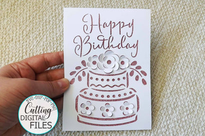 Pop up Birthday card svg, pop up card svg, pop up floral cake svg, happy birthday card svg, digital card svg, laser cut svg, cards uk SVG kartcreationii