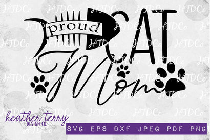 Proud Cat Mom svg, cat paw print svg SVG Heather Terry Design Co.