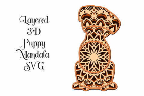 Puppy Dog Layered Mandala SVG for paper cutting, Cricut, Cameo 3D Paper Digital Honeybee