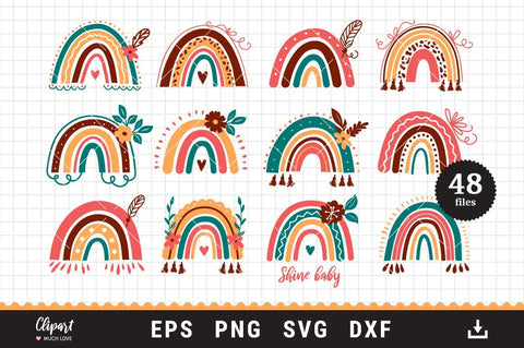 Rainbow svg cut files, Boho rainbow svg, dxf, png, eps SVG ClipartMuchLove
