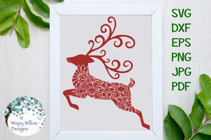 Reindeer Mandala SVG Wispy Willow Designs